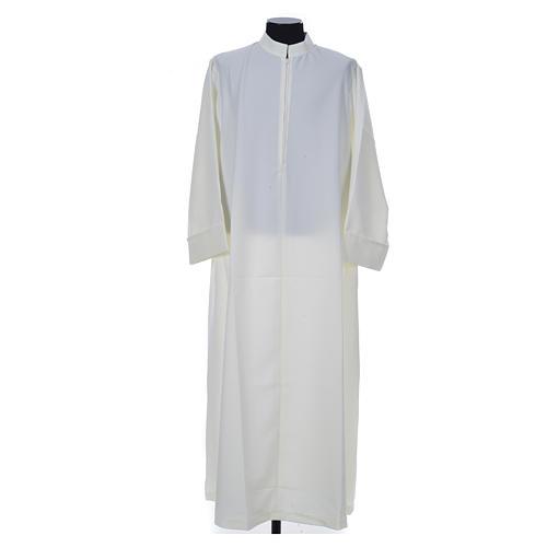 Aube liturgique ivoire simple 100% polyester fermeture devant 1