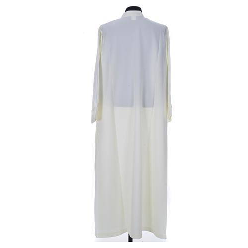 Aube liturgique ivoire simple 100% polyester fermeture devant 2
