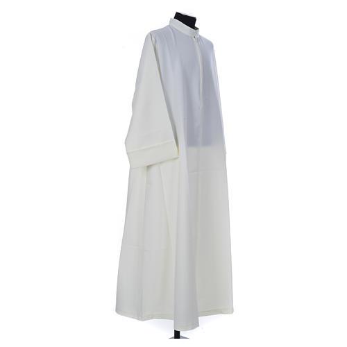 Aube liturgique ivoire simple 100% polyester fermeture devant 3