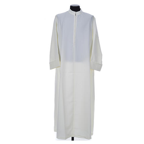 Ivory alb in 100% polyester, simple with zipper on front 1