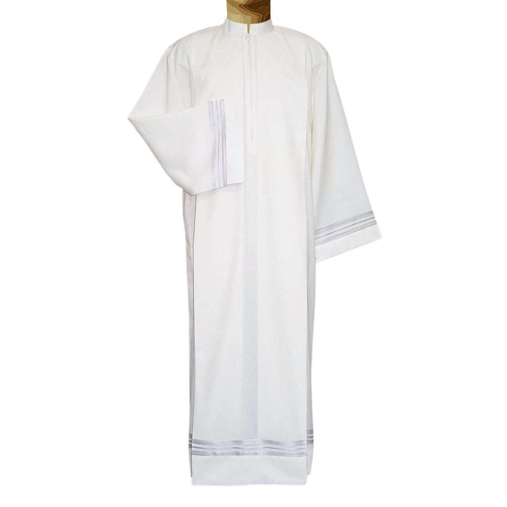 Aube liturgique ivoire tissu double retors 55% pol. 45% laine 4
