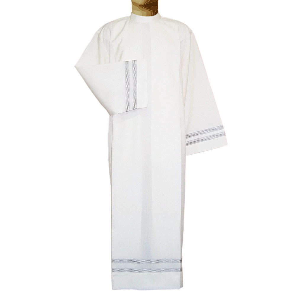 Ivory alb in wool and polyester with double twisted yarn, woven 4