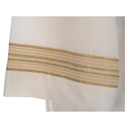Ivory alb, polyester and wool double twisted yarn, woven fabric 5