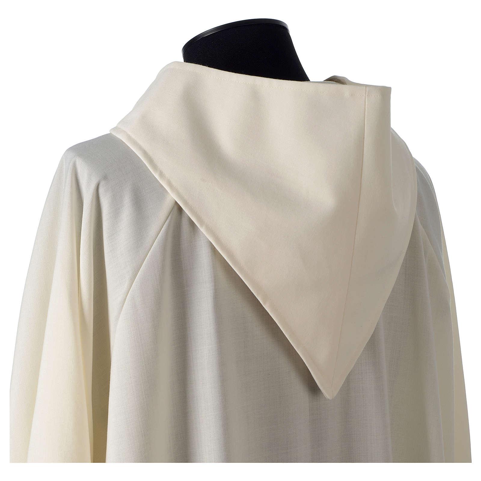 Camice avorio 55% poliestere 45% lana cappuccio aperto 4
