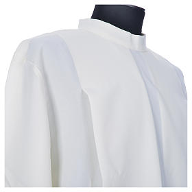 Ivory alb in polyester, gigliuccio hemstitch, zipper on shoulder s7