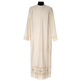 Clergy Alb with gigliuccio stitch zipper on shoulder in cotton polyester, ivory s1