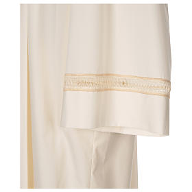 Clergy Alb with gigliuccio stitch zipper on shoulder in cotton polyester, ivory s2