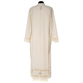 Clergy Alb with gigliuccio stitch zipper on shoulder in cotton polyester, ivory s4