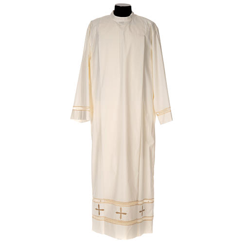 Clergy Alb with gigliuccio stitch zipper on shoulder in cotton polyester, ivory 1