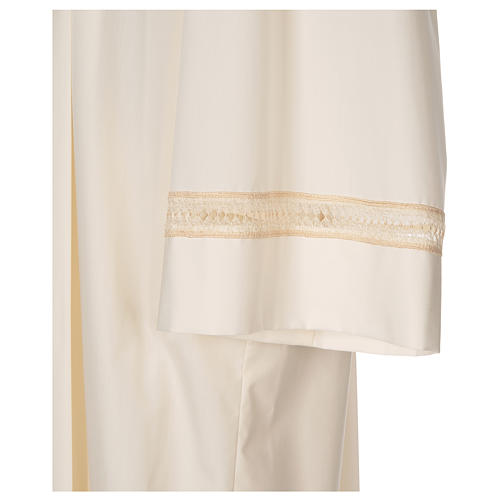 Clergy Alb with gigliuccio stitch zipper on shoulder in cotton polyester, ivory 2