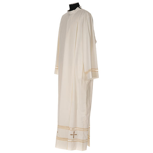 Clergy Alb with gigliuccio stitch zipper on shoulder in cotton polyester, ivory 3