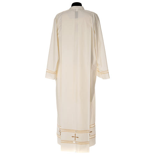 Clergy Alb with gigliuccio stitch zipper on shoulder in cotton polyester, ivory 4