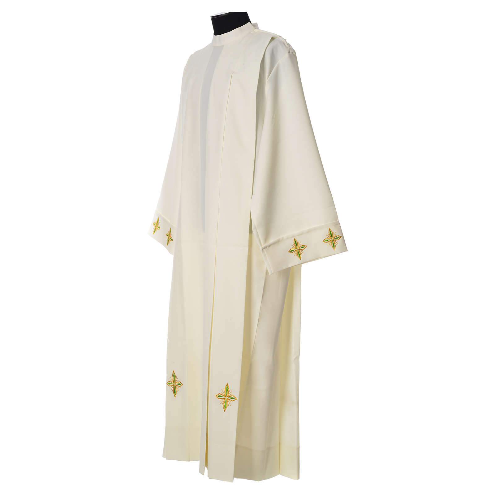 Catholic Alb with Shoulder Zippler in polyester with wheat, ivory color 4