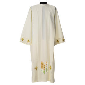 Catholic Alb with Shoulder Zippler in polyester with wheat, ivory color s1