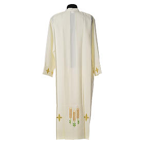 Catholic Alb with Shoulder Zippler in polyester with wheat, ivory color s3