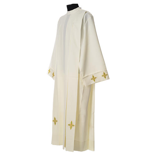 Catholic Alb with Shoulder Zippler in polyester with wheat, ivory color 2