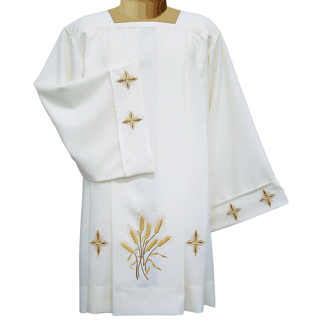 Ivory surplice in polyester with crosses and wheat, 4 pleats 4