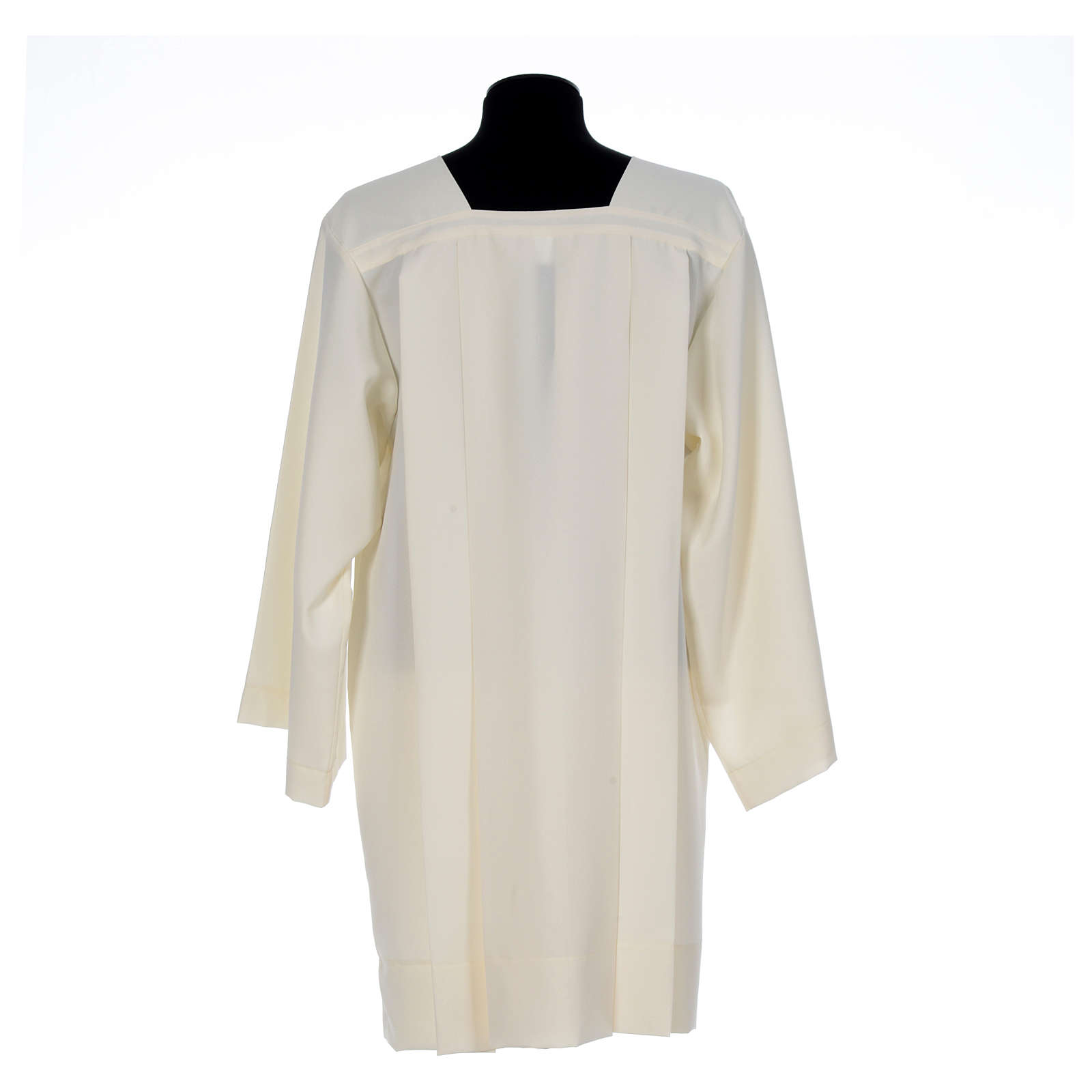 Ivory surplice in polyester with 4 pleats on front 4