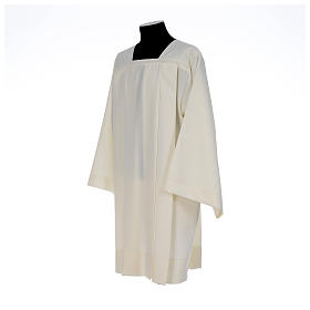 Ivory surplice in polyester with 4 pleats on front s2