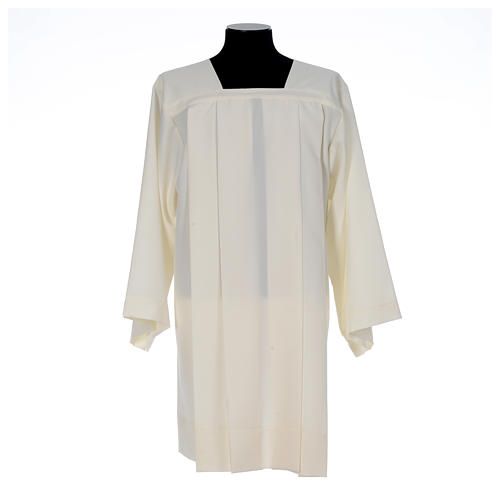Ivory surplice in polyester with 4 pleats on front 1