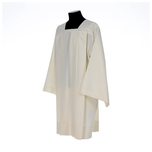 Ivory surplice in polyester with 4 pleats on front 2