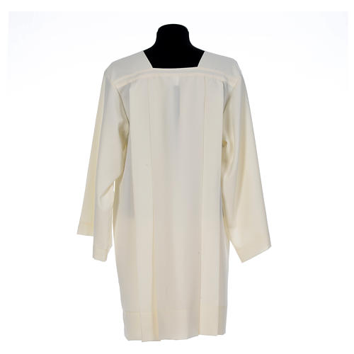 Ivory surplice in polyester with 4 pleats on front 3