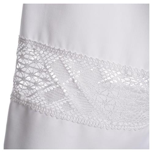 Camice bianco 65% poliestere 35% cotone tramezzo merletto 3