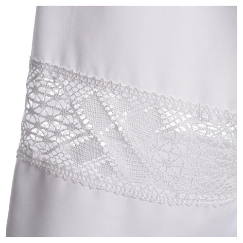 Alb with lace in 65% polyester 35% cotton, white 3