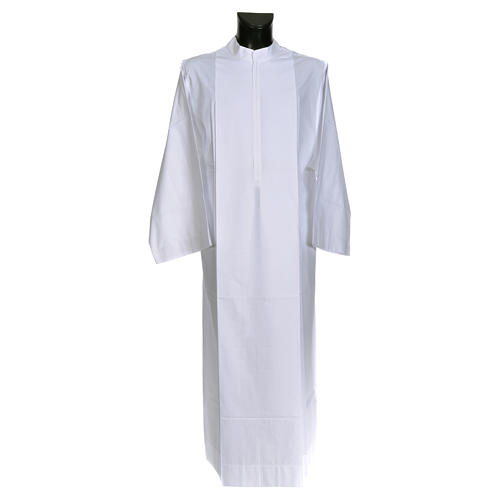 Priest alb in cotton and polyester, simple design 1