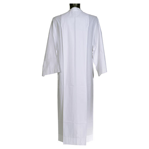 Priest alb in cotton and polyester, simple design 2
