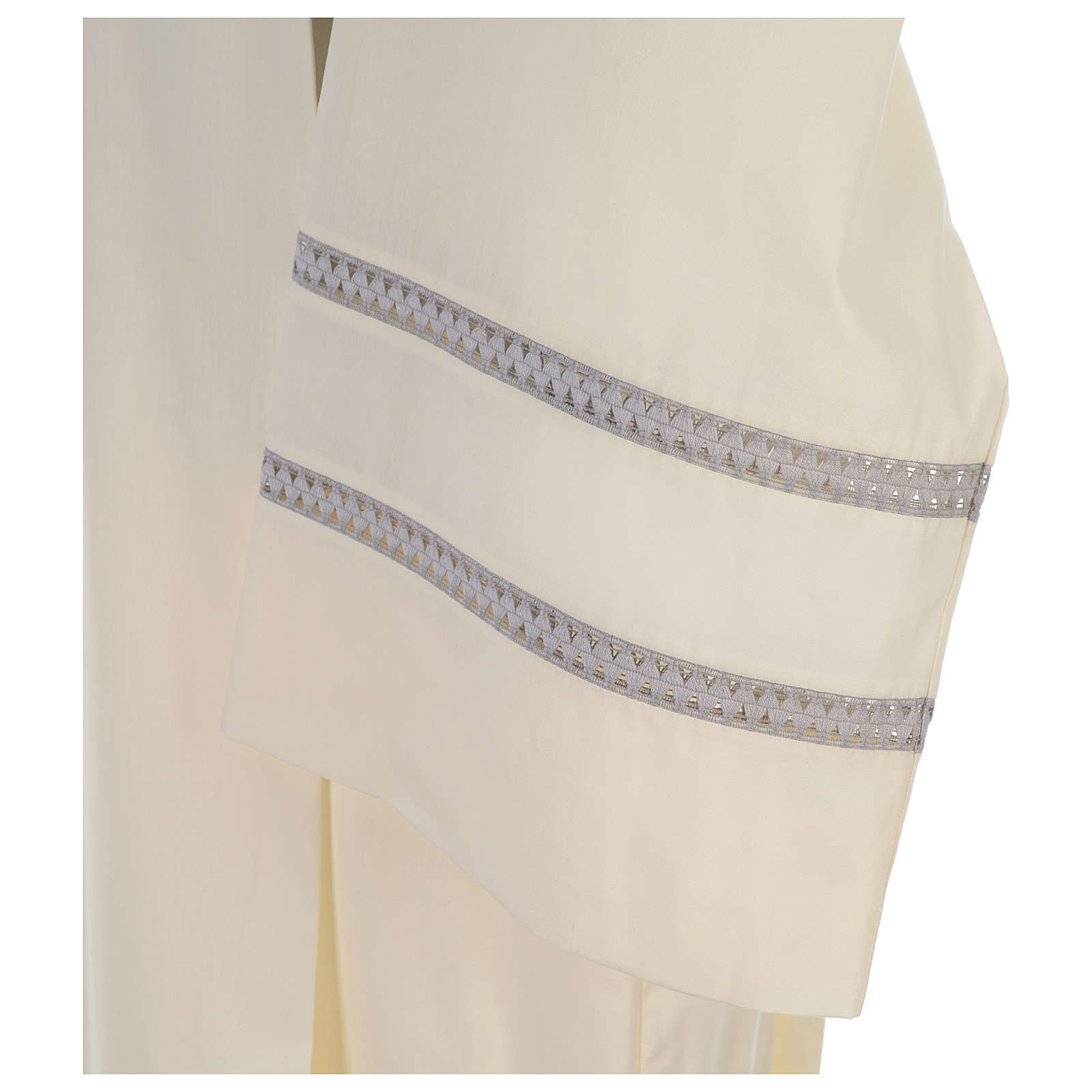 Liturgical alb with cross and gigliuccio hemstitch 4