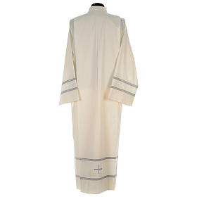 Liturgical alb with cross and gigliuccio hemstitch s5