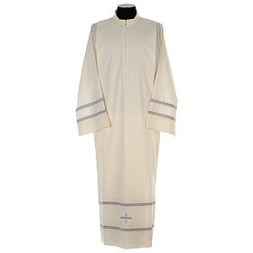 Monastic Alb with cross and gigliuccio hemstitch s1