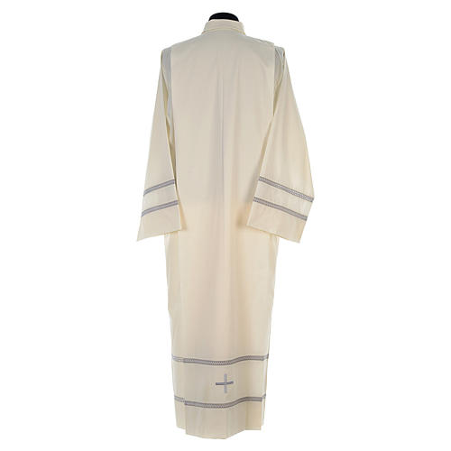Liturgical alb with cross and gigliuccio hemstitch 5