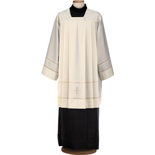 Liturgical surplice, with cross and gigliuccio hemstitch 1