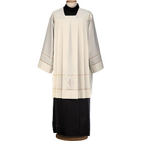 Liturgical surplice, with cross and gigliuccio hemstitch s1