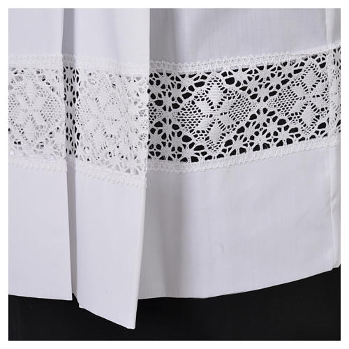 Surplis blanc 100% polyester entretoile dentelle 4 plis 5