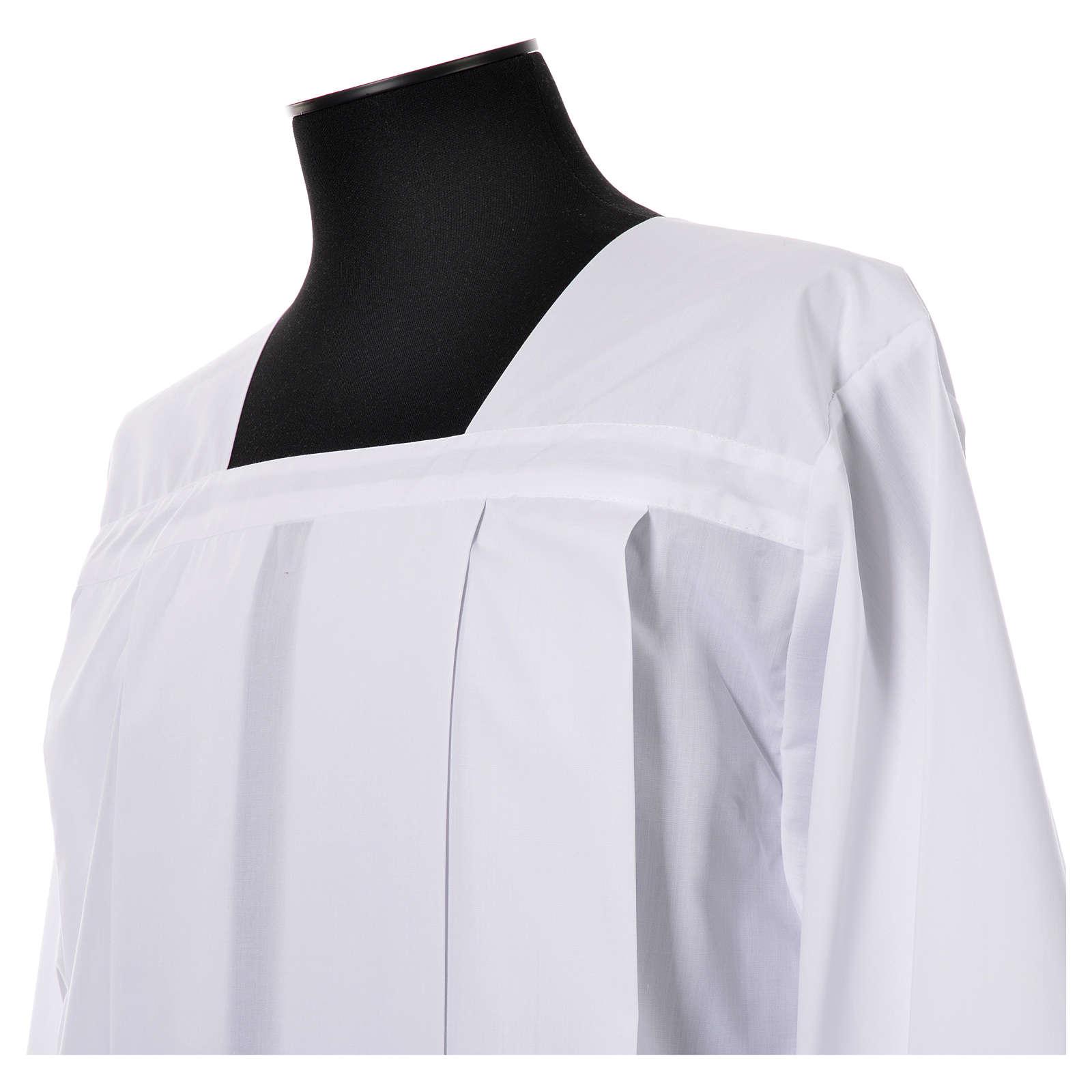 White Surplice 100% polyester lace partition 4 pleats 4