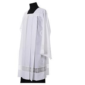 White Surplice 100% polyester lace partition 4 pleats s2