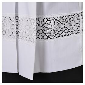 White Surplice 100% polyester lace partition 4 pleats s5