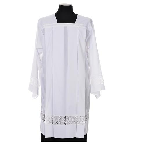 White Surplice 100% polyester lace partition 4 pleats 1
