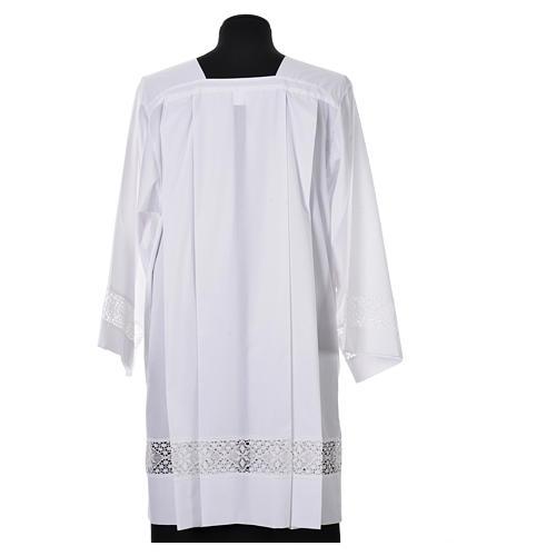 White Surplice 100% polyester lace partition 4 pleats 3