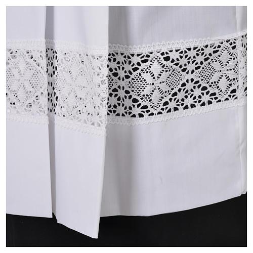 White Surplice 100% polyester lace partition 4 pleats 5