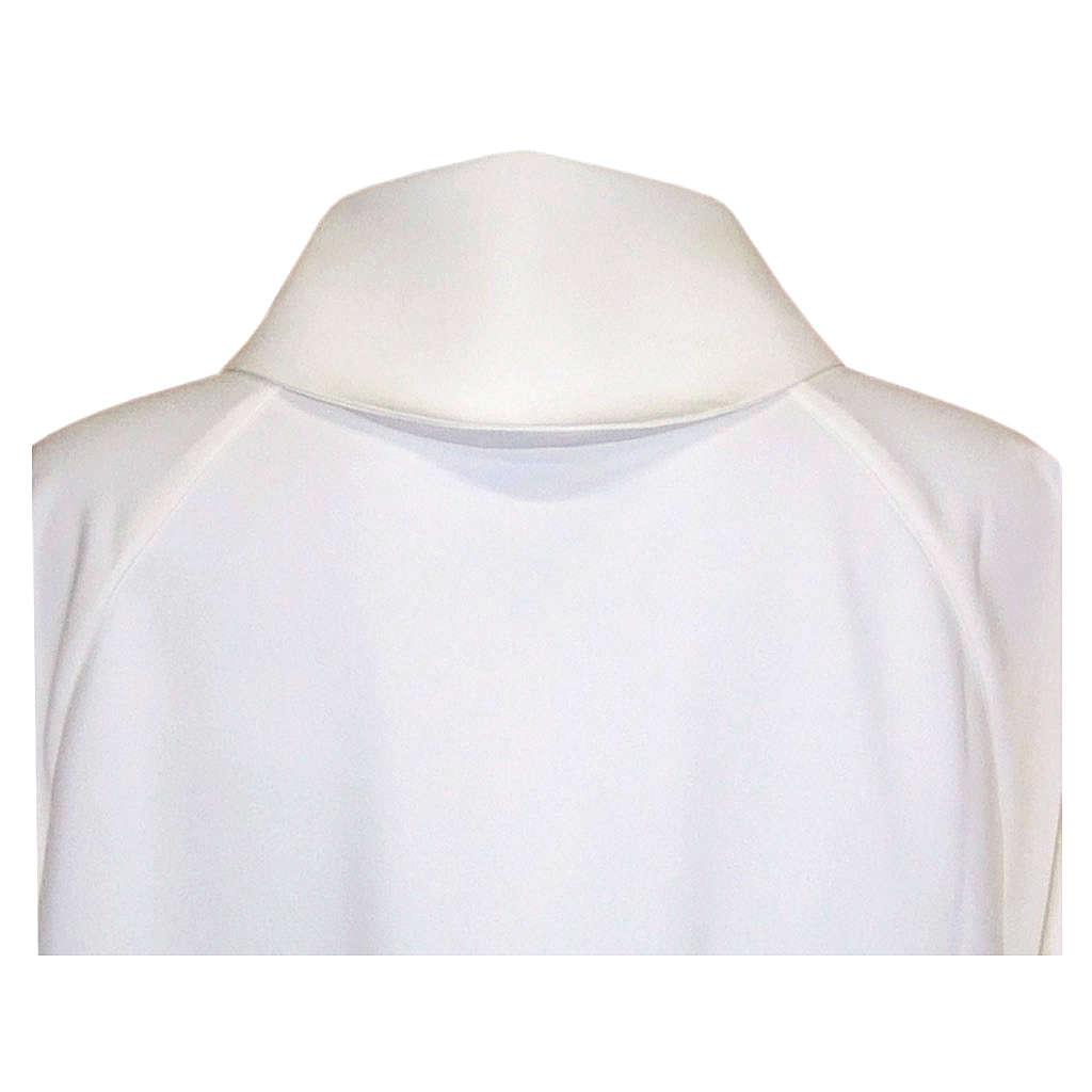 Aube liturgique blanche évasée faux capuche polièster coton 4