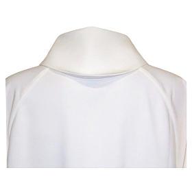 Aube liturgique blanche évasée faux capuche polièster coton s2