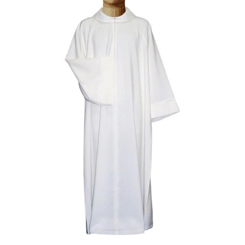 Aube liturgique blanche évasée faux capuche polièster coton 1