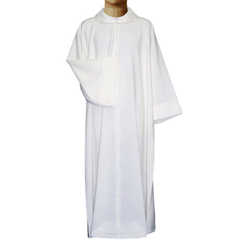 Clerical alb in cotton polyester, flared with false hood 1