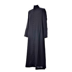 Soutane en laine noire avec boutons couverts s2