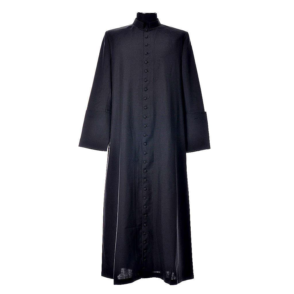 Abito talare in lana nera con bottoni ricoperti 4