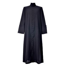 Abito talare in lana nera con bottoni ricoperti s1